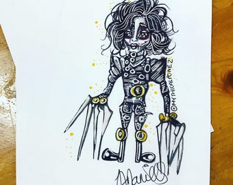 Edward Scissorhands A5 digital print Tim Burton illustration ink polychrome dark art gothic goth surreal bizarre weird fantasy fairytale
