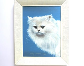White Persian Cat Oil Painting Framed and ready to Hang