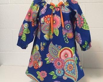 Toddler Dress Little Girl Dress Blue Paisley Floral Dress