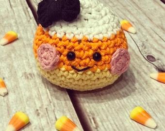 Amigurumi-Pin Cushion-Candy Corn-Crochet-Handmade-Amigurumi Halloween-Home Decor-Craft Room Decor-Kawaii-Amigurumi Doll-Crochet Candy Corn