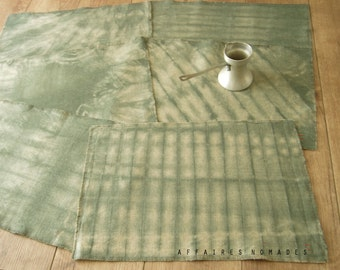 Set of 6 Hand dyed Placemat.   Linen .. colors Sage / HYPHEN