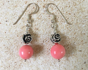 Charming pink coral and sterling silver earrings with decorative rose details, natural stone earrings