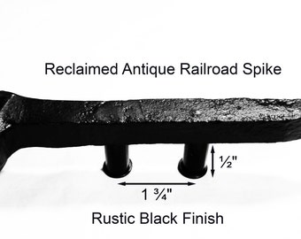 "1 3/4"" Left Black Railroad Spike Cupboard Handle Dresser Drawer Pull Cabinet Knob Antique Vintage Old Rustic Re-purposed House Restoration"