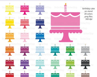 Birthday Cake on Cake Stand Digital Clipart - Instant download PNG files