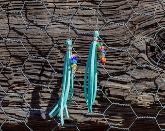 Turquoise Leather Tassel Earrings with Stained Glass Beads