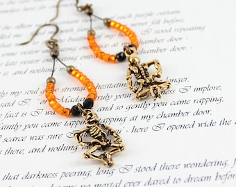 Skeleton Earrings - Gothic Jewelry - Halloween Earrings - Hoop Earrings - Seed Bead Jewelry - Beaded Earrings - Skeleton Jewelry