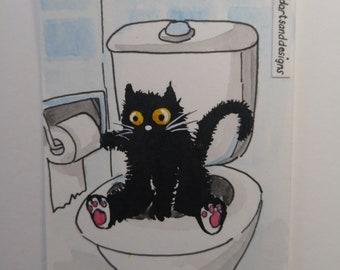 ORIGINAL #174 art painting black cat potty training bathroom cute miniature funny whimsical ACEO pet animals