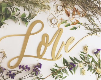 "Large Love Sign - Wedding Sign - Backdrop Sign - Birthday Sign - Laser Cut Wood 37"" Wide x 18"" tall - Shipped anywhere in USA"