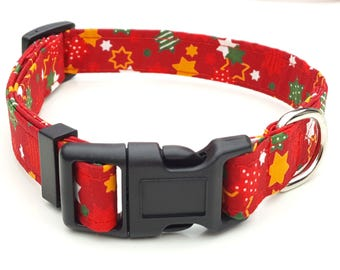 Dog Collar - Red Christmas Star