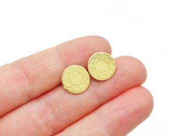 Faceted Round Brass Post Earrings // LanaBetty