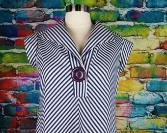Vintage Dress 1960s Chevron Stripes Blue & White Dress With Pockets Midi Dress Nautical Dress Sailor Dress Large Button