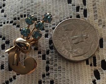 Aqua Blue Vintage Flower Brooch