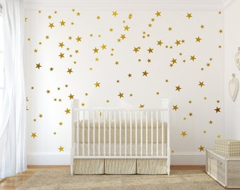 Gold Stars Wall Decals Set, Peel and Stick Decals, Baby Nursery Wall Decor, Star Decals, Gold Wall Decals, Star Stickers
