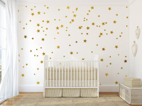 Perfect Gold Stars Wall Decals Set Peel And Stick Decals Baby