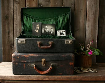 Rustic Antique Suitcase Black Leather Over Wood Lined in Green Satin Vintage From Nowvintage on Etsy