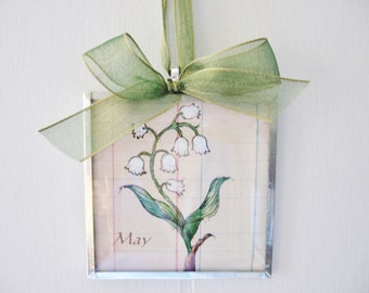 May Birthday Gift Idea - Flower Of the Month - Lily of the Valley - Glass Art Print Ornament- Mother's Day Gift - Anniversary Gift