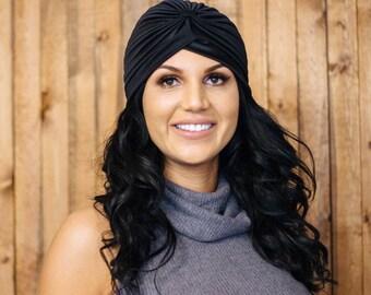 Womens Black Turban Fashion Turban, Turban Headwrap, Hair Loss, Head Covering, Extra Wide Headband, Hair Band, Women Turban