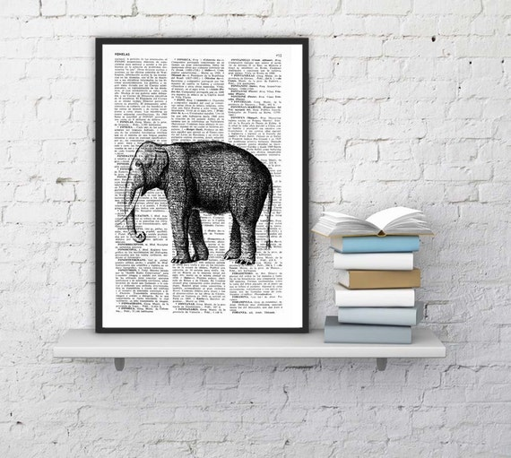 Elephant Dictionary Book Print  Altered art on upcycled book pages ANI085