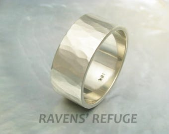 10mm wide wedding band hammered in 18k white gold -- rustic hand forged wedding ring