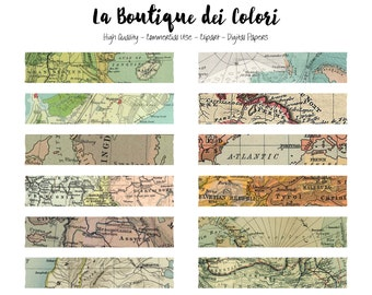 Old Maps Washi Tape Clipart, Cute Clip art pack Frame, Label, Banner, Tag Instant Download for Personal and Commercial Use