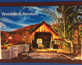 2018 Our Town Series WOODSTOCK VERMONT 1/2 Gallon Vermont Maple Syrup Free Shipping