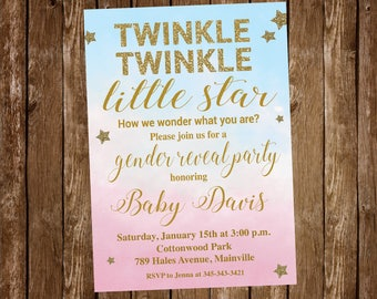 Twinkle Little Star Gender Reveal Invitation, Gender Reveal Invitation, Sex Reveal Invitation, Boy or Girl, Star - Printable or Printed