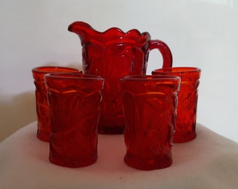 Summit Art Glass miniature cranberry pitcher and 4 tumblers - By Russ Vogelsong