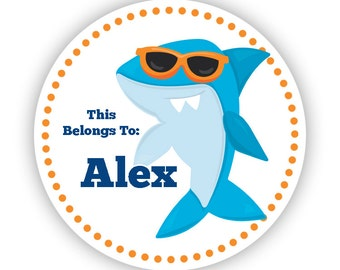 Name Label Stickers - Ocean Shark Stickers, Cool Shark Personalized Name Tag Sticker Labels, This Belongs To - Back to School Name Labels