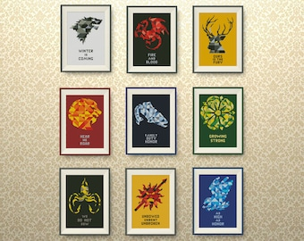 SET, 9 Houses of Westeros. Game of Thrones cross stitch pattern, Geometric cross stitch pattern, Instant Download, #P150