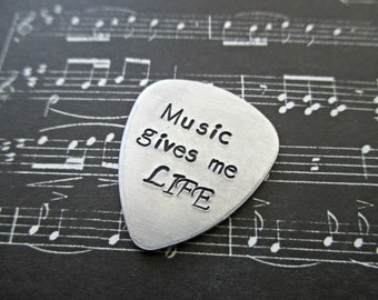 personalized hand stamped aluminum guitar pick with your message, quote, motto