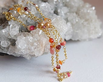 Dainty, feminine  handwrapped,rosary style necklace,Pink and Orange Gemstone Jewelry