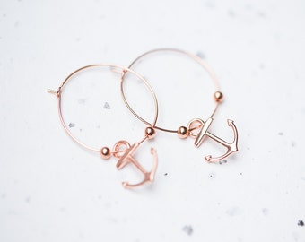 Anchor Hoops Earrings Rose Gold Brass Modern Nautical Jewelry Beach style minimal chic