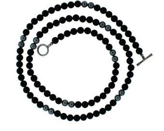 Black onyx hematite 8mm spirit bead necklace silver black diamonds