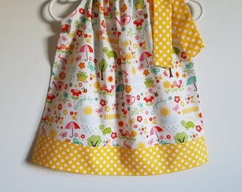 Pillowcase Dress with Flowers & Sunshine Yellow Polka Dots Girls Dresses Summer Dresses with Birds Frogs Bees Turtles Riley Blake Summertime