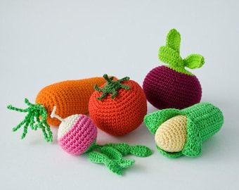 Crochet Baby Rattles Veggies, Set of 5 - beet, corn, radish,  tomato, carrot - eco-friendly crochet play food, FrejaToys