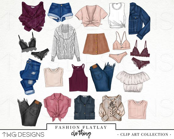 Fashion Elements Clip Art Clipart PNG Styling Clothing Trendy