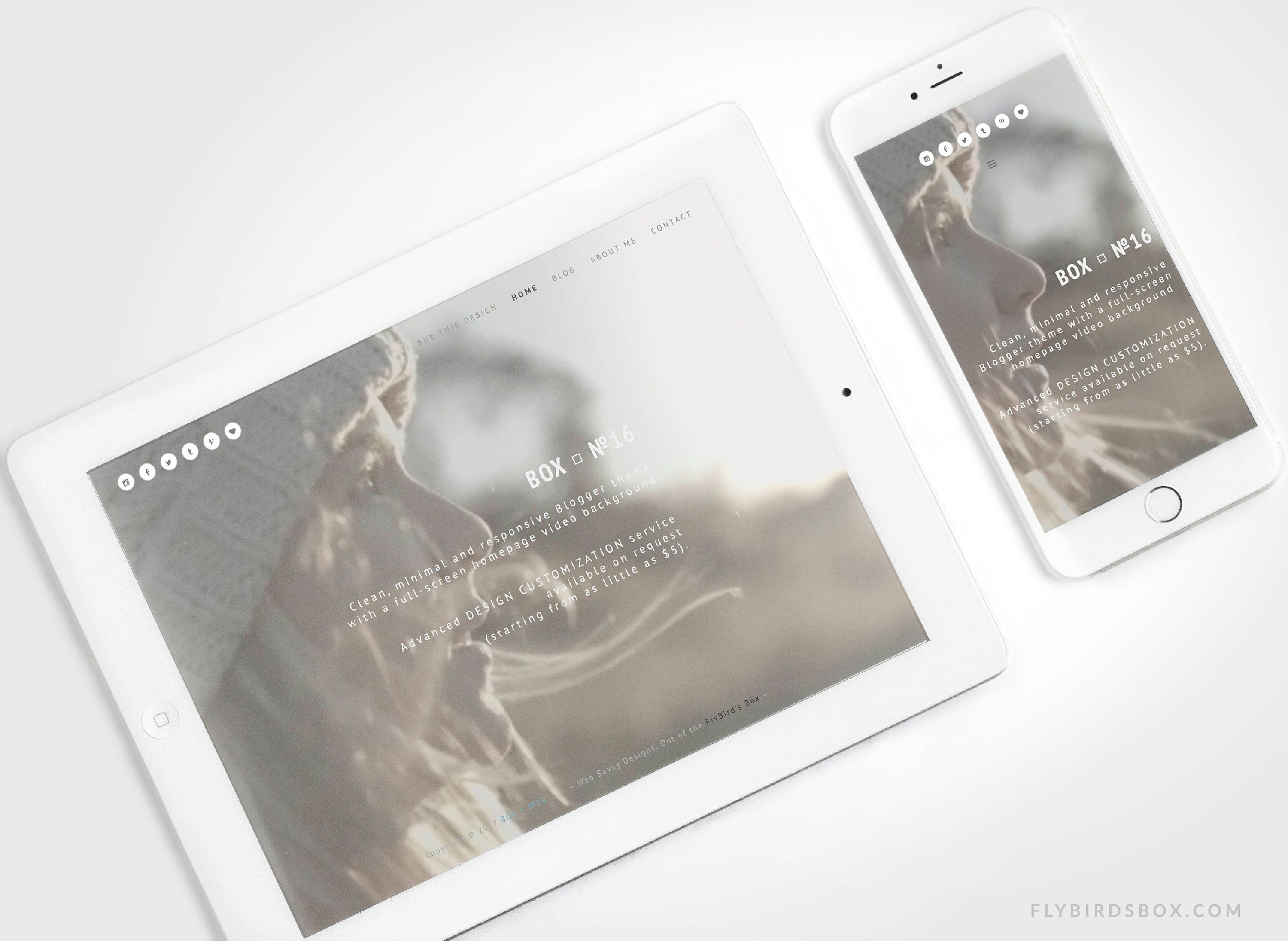 Minimal Blogger Template With A Video Background Box No16