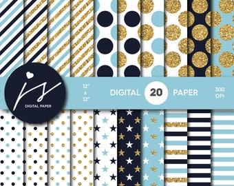 Blue and Navy blue gold glitter digital paper, Patterns, Backgrounds, Navy blue and Blue glitter gold digital scrapbooking, MI-771