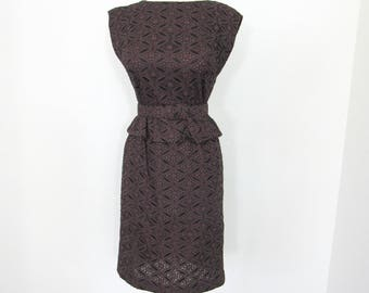 1950s Leslie Fay Original, Chocolate & Black Cotton Eyelet Wiggle Dress with Abbreviated Peplum and Matching Belt