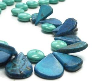 Sale| Turquoise Teardrop Necklace, Gemstone, Chunky, Whimsy, Bib, Collar, Bubble Necklace, Turquoise Jewelry, Gemstone Jewelry, Boho, Statem