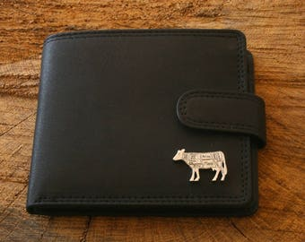 Butcher Cow Leather Wallet Brown or Black Leather Butcher Gift