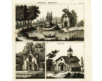 1839 Churches, Chapel, Bell Tower, Steeple,  Architecture  Antique Print Horticulture Lithograph Design Wall Art Home Decor