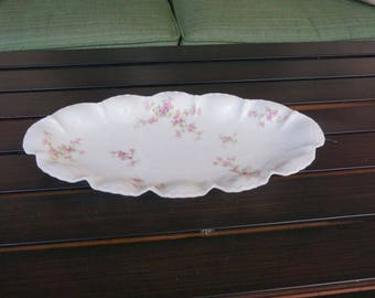 Antique Theodore Haviland Limoges France Ruffled Oval Dish Bowl