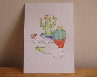 Cactus Succulent Hand Thorn Watercolour Illustration