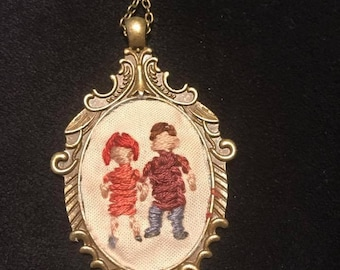 Custom Couple Embroidered Necklace