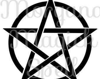 BLACK PENTACLE  Royalty Free Clip Art Illustration Wiccan Digital Image Download Printable Graphic  Transfers Prints HQ 300dpi jpg png