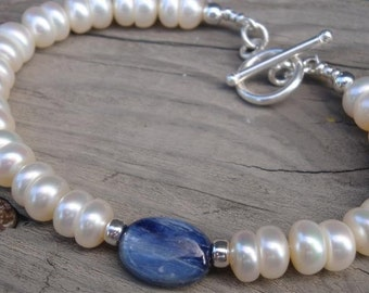 BLUE WITHOUT YOU BRIDAL COLLECTION - GRADE A BUTTON PEARLS, Sterling Silver Beaded with KYANITE Focal Bead Bracelet - BRIDAL BRACELET - Perfect Bridal Gift SOMETHING BLUE AND NEW