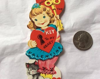 Vintage 1960s 1970s Valentine Card Little Girl With Key To My Heart Theme Collectible Paper Ephemera Art Crafts Scrap Booking
