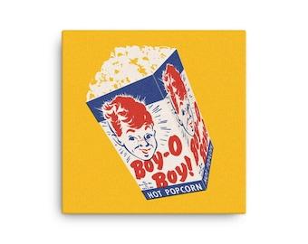 Retro Popcorn Box Canvas Print (16 inch/41cm square)(Ships from USA)