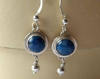 Denim Lapis cabochon sterling silver earrings